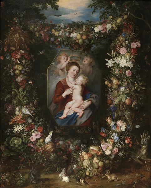Virgin and Child Surrounded by Flowers and Fruit - Jan Brueghel the Elder