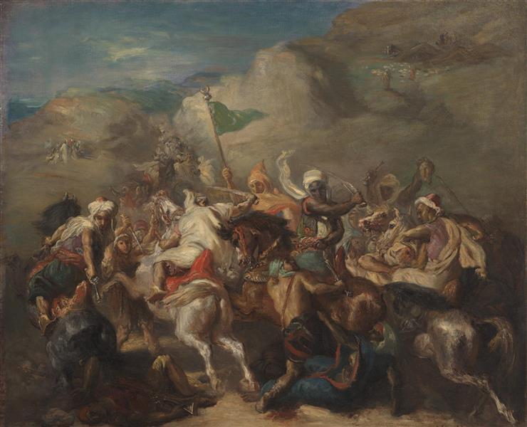 Battle of Arab Horsemen Around a Standard, 1854 - Theodore Chasseriau
