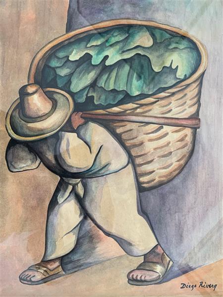 The Banana Leaf Loader, 1953 - Diego Rivera