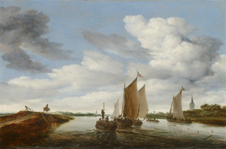 River Landscape with Sailing Boats and a Horse-drawn Barge by Salomon van Ruysdael