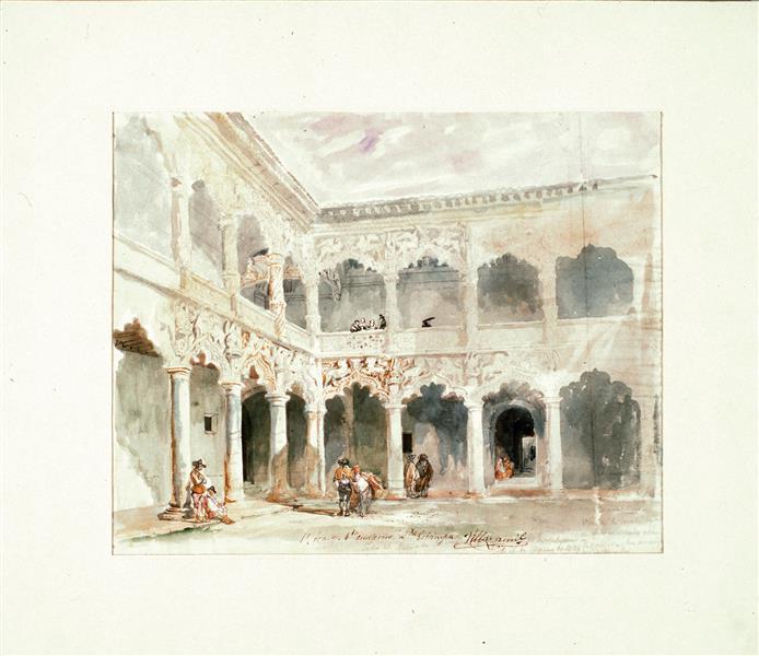 Courtyard of the Infantado Palace in Guadalajara (Spain), 1837 - Jenaro Pérez Villaamil