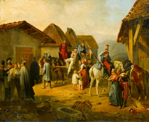 Soldiers Resting in a Village, a Cavalry Officer Holding An Austrian Banner, 1862 - Albrecht Adam