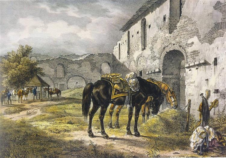 Halšany, 11 July 1812. In the Courtyard of the Castle, 1812 - Oswald Achenbach