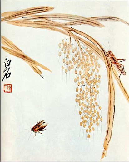Whisk rice and grasshoppers, 1942 - Qi Baishi
