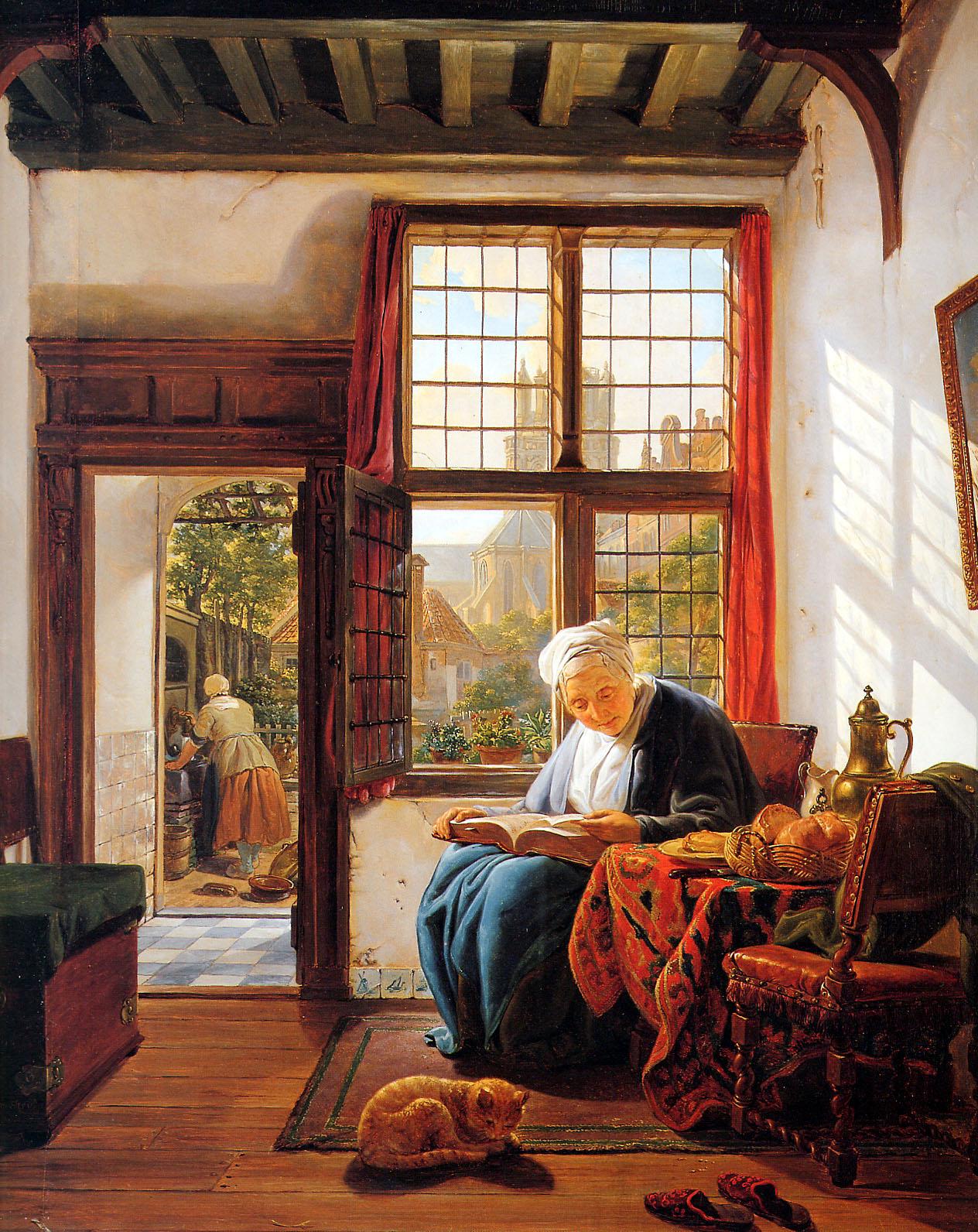 Old Woman Reading At Window Abraham Van Strij Biblioklept