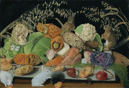 Still life with vegetables, mice and rabbits, 1928 - Adolf Dietrich