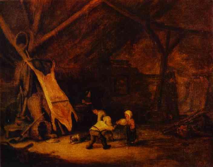 Children Playing in a Barn, 1639 - Adriaen van Ostade