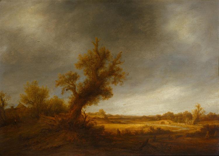 Landscape with an Old Oak, c.1640 - Адриан ван Остаде