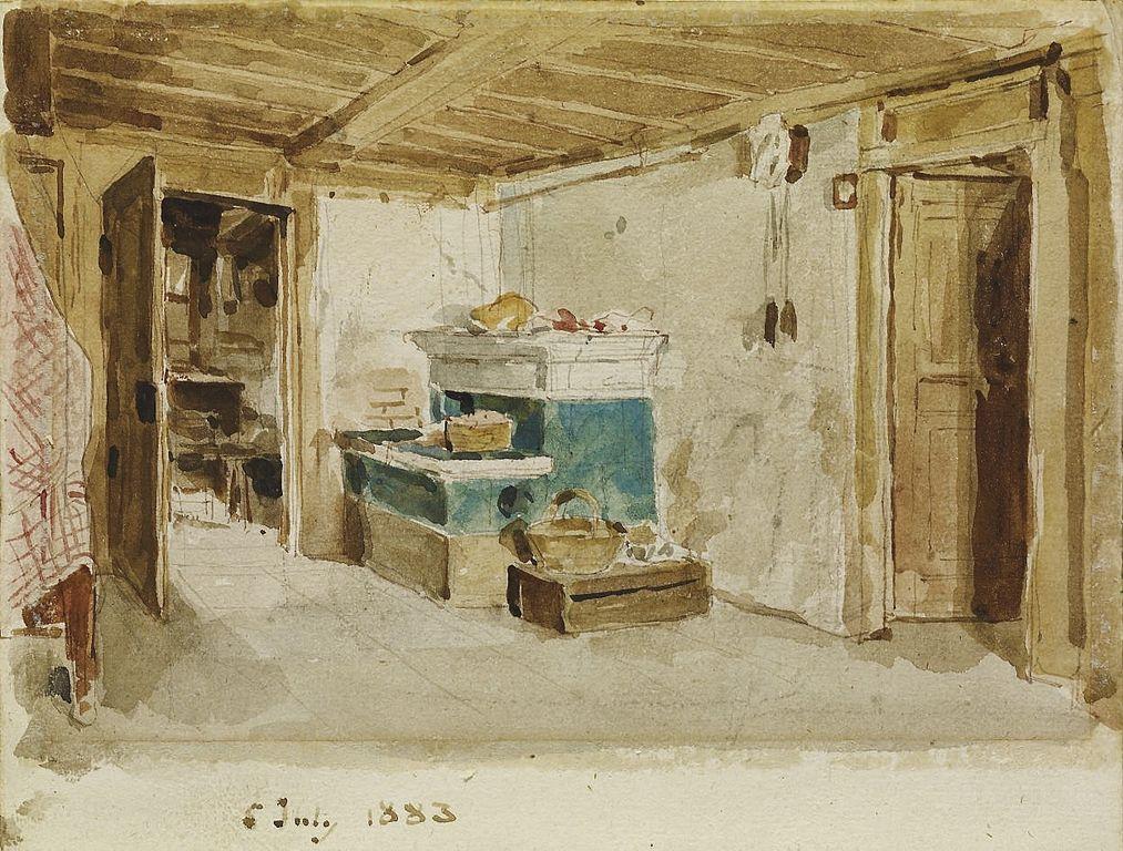 Bauernstube mit grünem Ofen, 1883