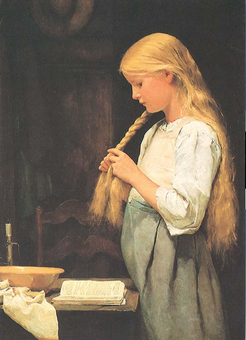 Mädchen, die Haare flechtend, 1887
