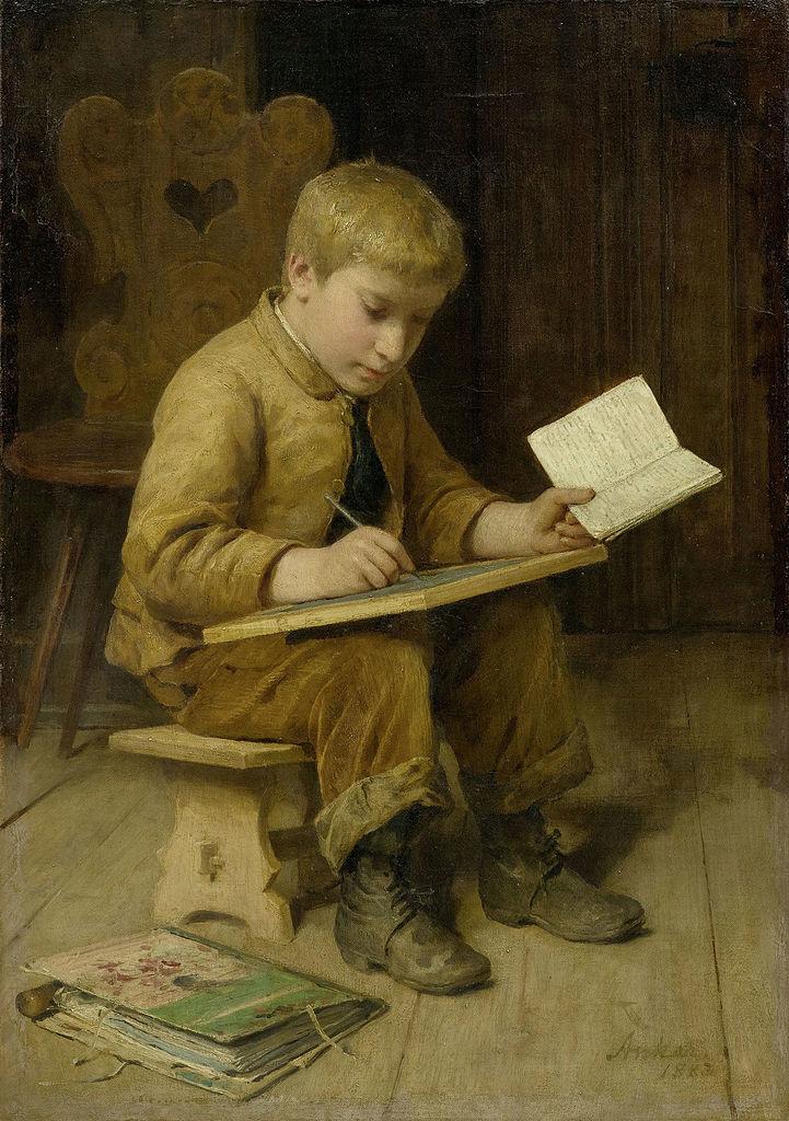 Schreibender Knabe, 1883