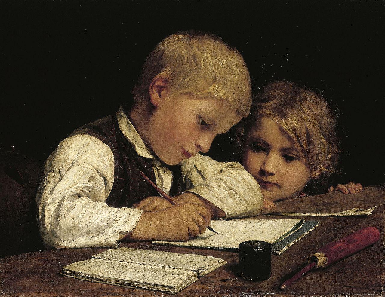 Schreibender Knabe mit Schwesterchen, 1875