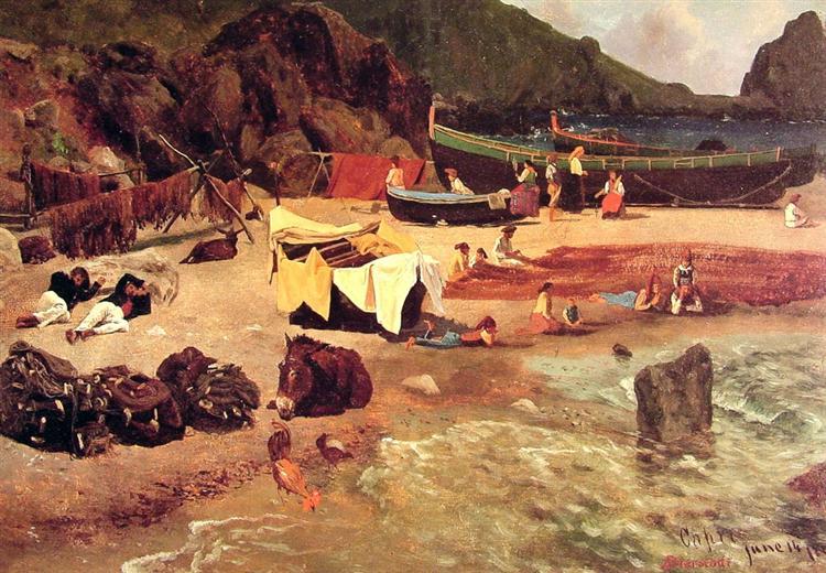 Fishing Boats at Capri, 1857 - Альберт Бірштадт