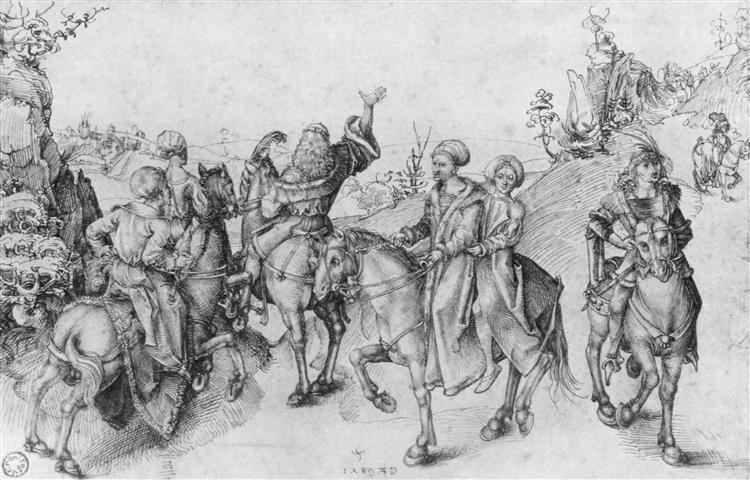 Society on horseback, 1489 - Albrecht Durer