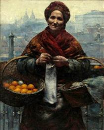 Jewish woman selling oranges - Aleksander Gierymski