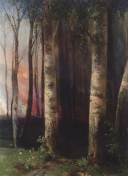 Fire in woods, 1883 - Aleksey Savrasov