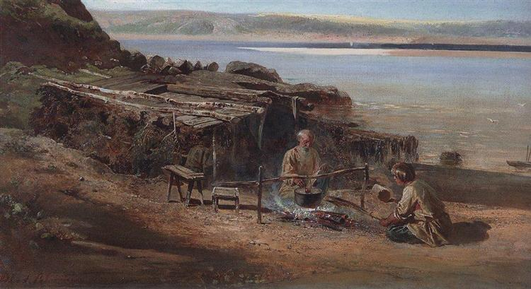 Fishermen on the Volga, 1872 - Aleksey Savrasov