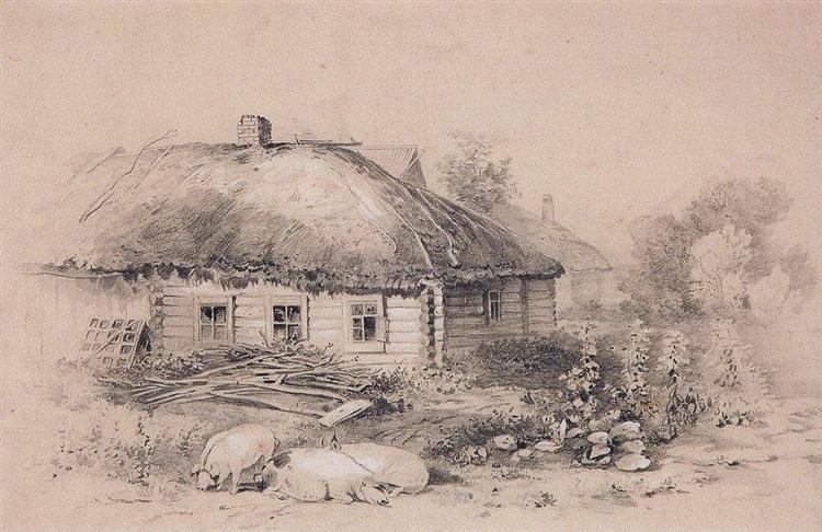 Landscape with hut, c.1860 - Aleksey Savrasov