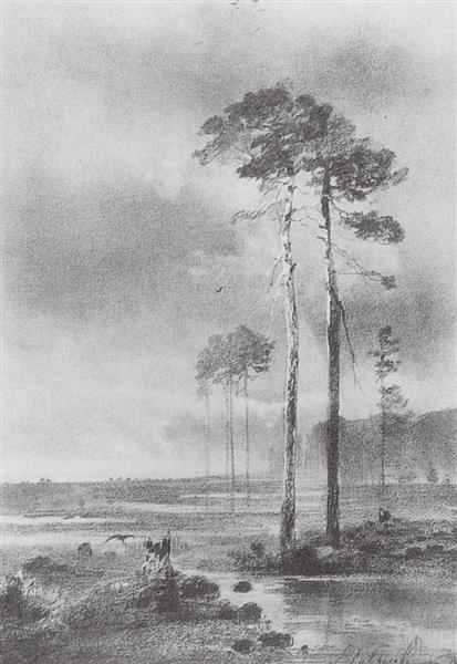 Pine in marsh, 1882 - Aleksey Savrasov