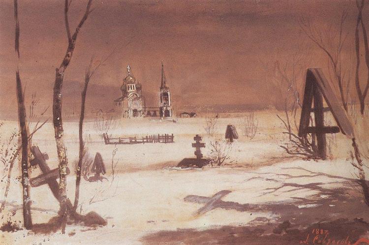 Rural cemetery in the moonlight, 1887 - Aleksey Savrasov