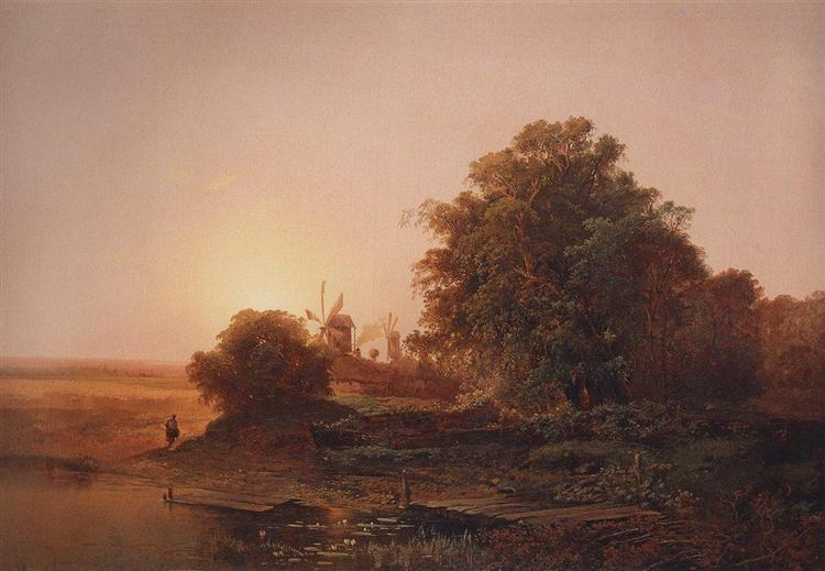 Summer landscape with windmills, 1859 - Aleksey Savrasov