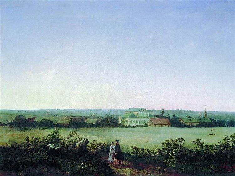 Type in the outskirts of Moscow to the manor and two female figures, 1850 - Aleksey Savrasov