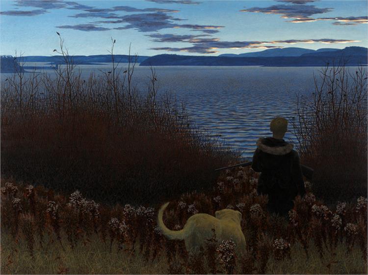 Dog, Boy, and St. John River, 1958 - Alex Colville
