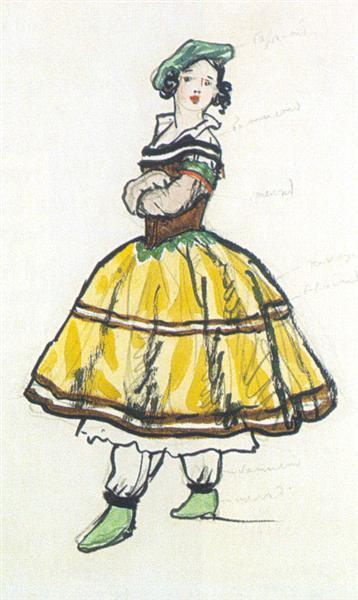 Ballerina. Costume design, 1917 - Alexandre Benois