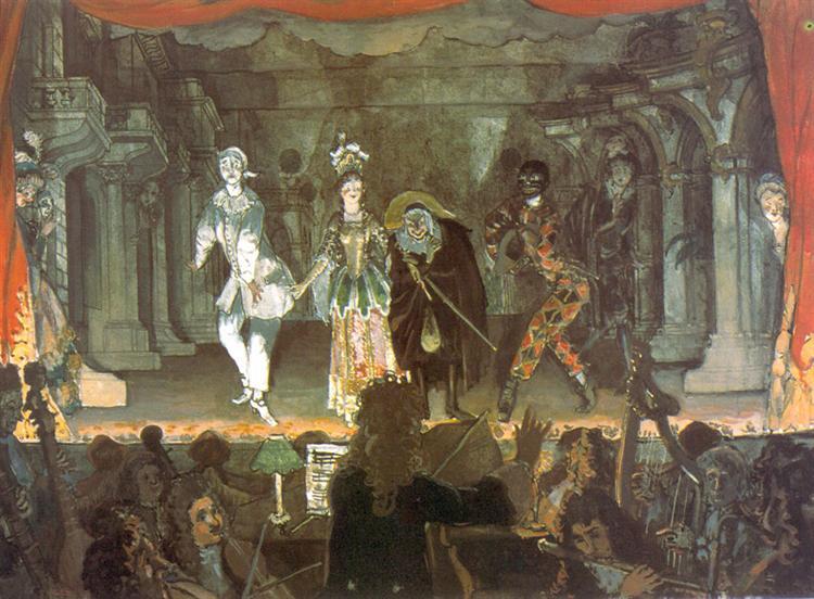 "Italian comedy. ""Love Note"", 1905 - Alexandre Benois"