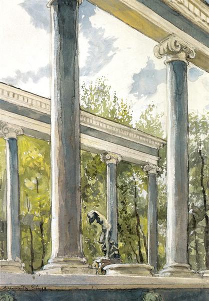 Peterhof Palace. Lion cascade and colonnade, 1900 - Alexandre Benois