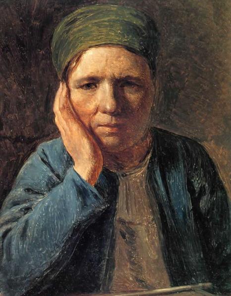 Una mujer campesina, apoyada en la mano - Venetsianov Alexey