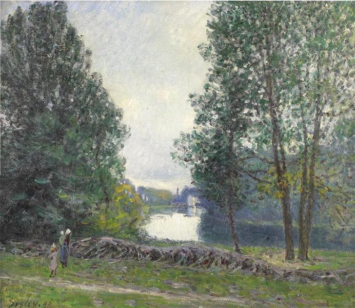 A Turn of the River Loing, Summer, 1896 - Альфред Сислей