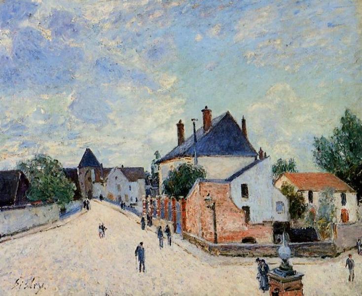 Street in Moret(Porte de Bourgogne from across the Bridge), c.1888 - Alfred Sisley