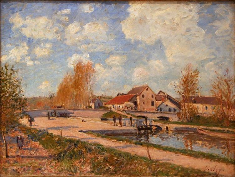 The Bourgogne Lock at Moret, Spring, 1882 - Alfred Sisley