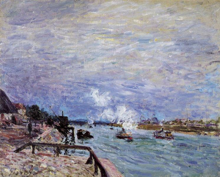 The Seine at Grenelle Rainy Wether, 1878 - Alfred Sisley