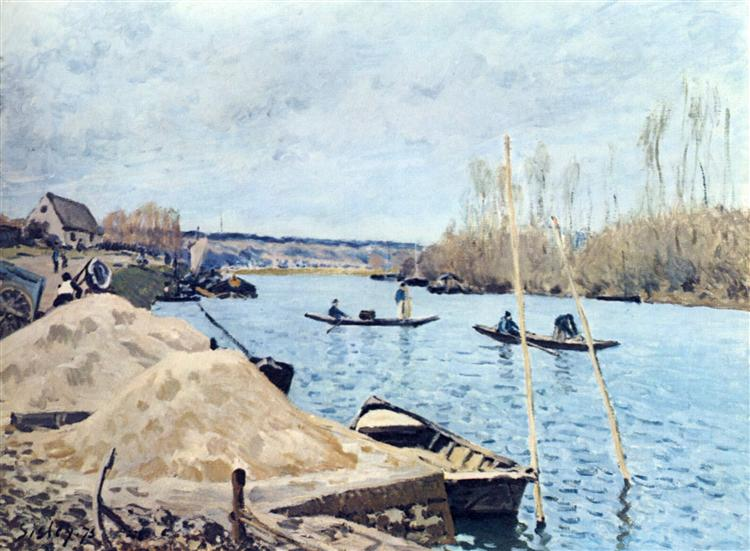 The Seine at Port Marly sand piles, 1875 - Alfred Sisley