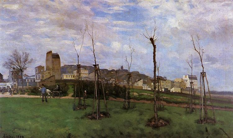 View of Montmartre from the Cite des Fleurs, 1869 - Альфред Сіслей