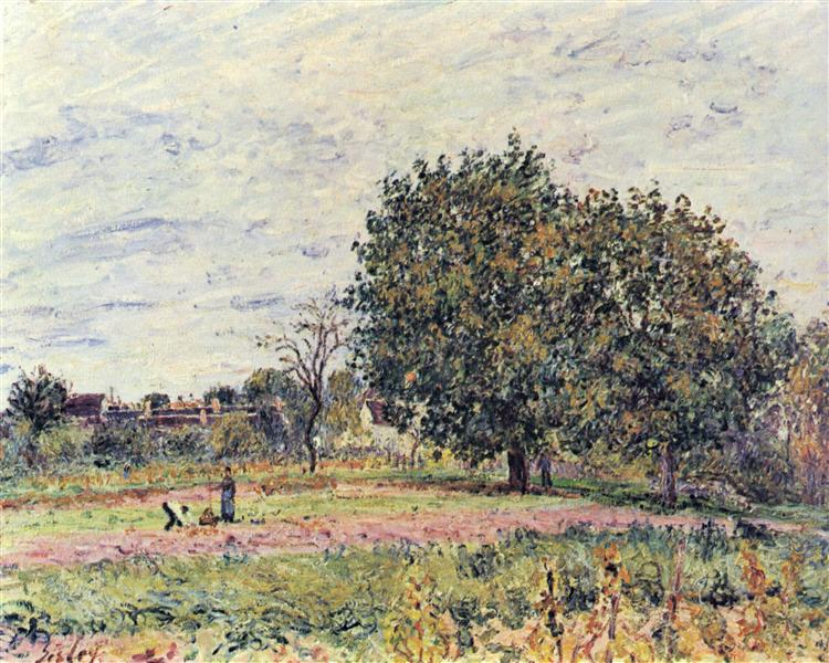 Walnut trees at sunset in early October, c.1882 - Alfred Sisley