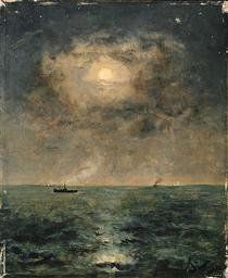 Moonlit seascape - Alfred Stevens
