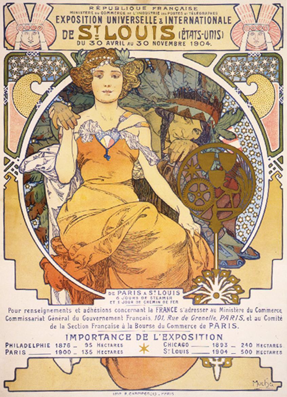 art nouveau color lithograph poster showing a seated woman