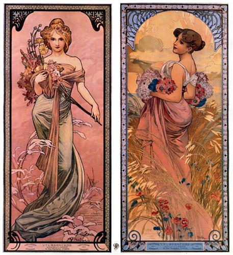 The seasons (Spring, Summer) - Alphonse Mucha