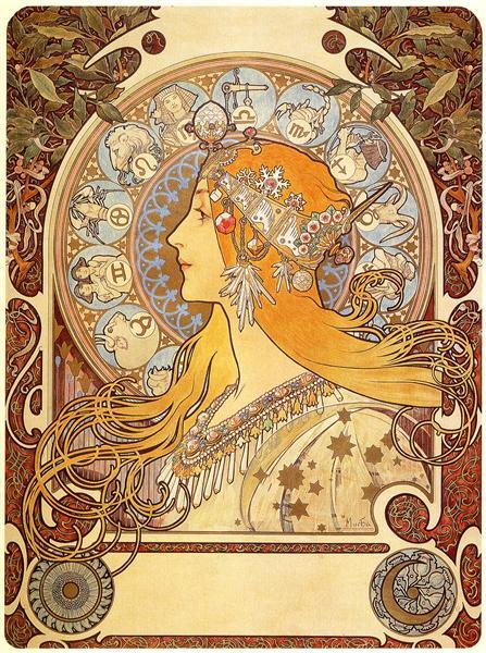 Zodiac, 1896 - Alphonse Mucha