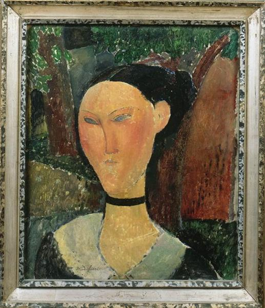 A woman with velvet ribbon, 1915 - Amedeo Modigliani