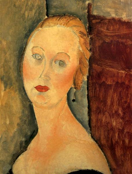 Germaine Survage with Earrings, 1918 - Amedeo Modigliani