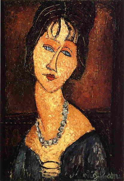 Jeanne Hebuterne with Necklace, 1917 - Amedeo Modigliani