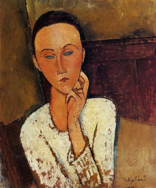 Lunia Czechowska with her left hand on her cheek, 1918 - Amedeo Modigliani