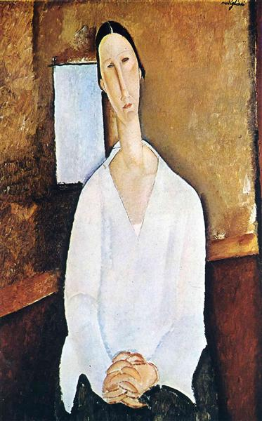 Madame Zborowska with clasped hands, c.1917 - Amedeo Modigliani