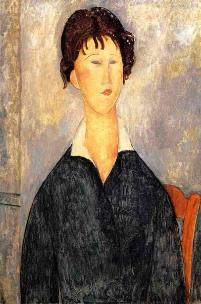 Portrait of a Woman with a White Collar, 1919 - Amedeo Modigliani