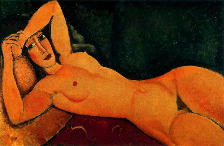 Reclining nude with Left Arm Resting on Forehead, 1917 - Amedeo Modigliani