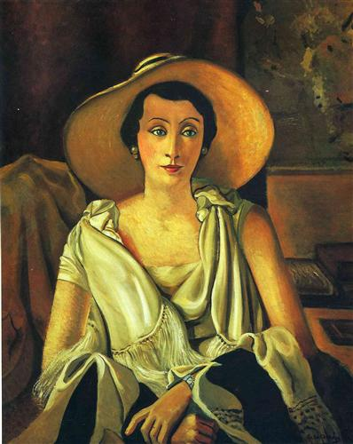 Portrait of Madame Paul Guillaume with a large hat - Andre Derain